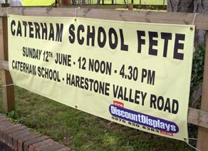 Caterham Fete banner provided by discount displays