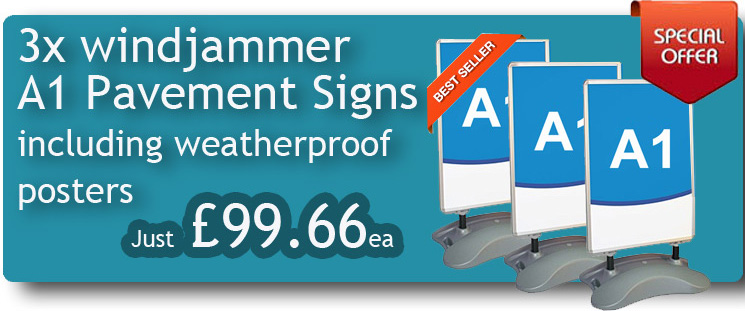 Special Offer Pavement Sign - x3 Windjammer Pavement Signs with Graphics
