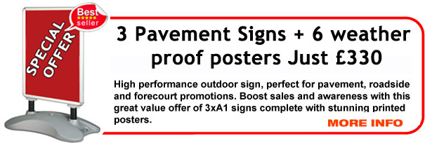 Special Offer Pavement Sign - x3 Windjammer Pavement Signs with graphics - £330