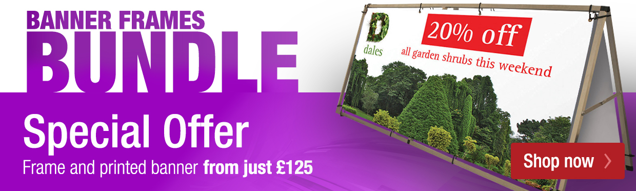 Banner frame with printed banner special offer