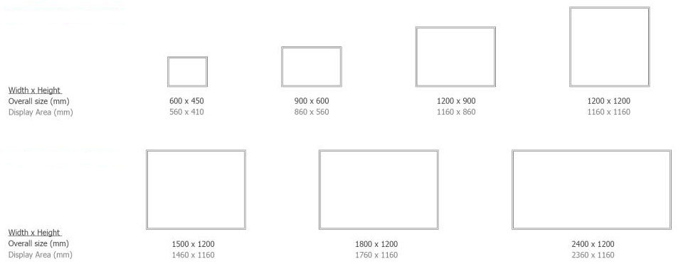 range of chalkboard sizes available with dimensions