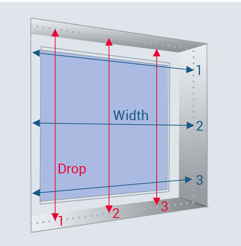 recessed blind measuring drop and width