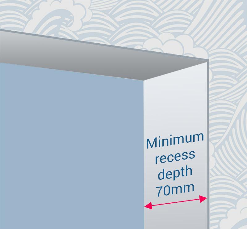 drop blinds minimum 70mm recessed