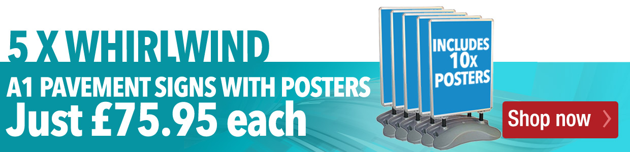 Special Offer Pavement Sign - x5 Windjammer Pavement Signs with graphics £379