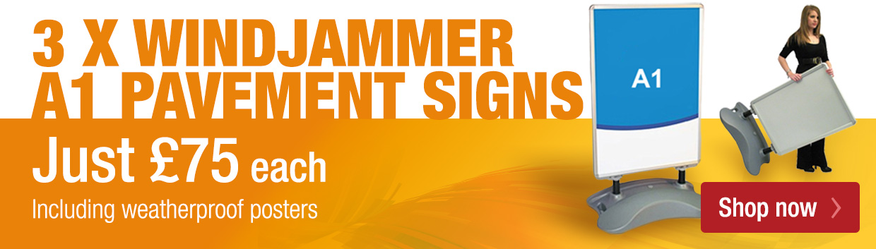 Special Offer Pavement Sign - x3 Windjammer Pavement Signs with graphics £330