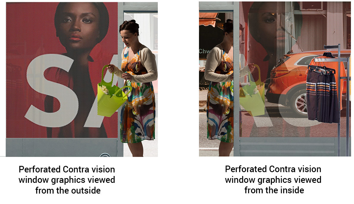 perforated contra vision window graphic, see out while providing privacy from outside eyes