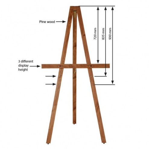 Dimensions of the height adjustable easel