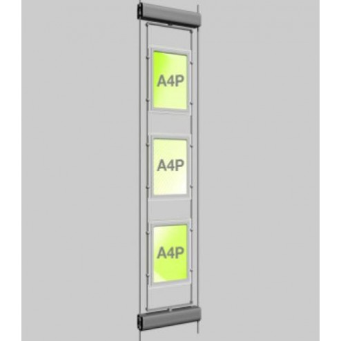 3xA4 Rotating LED Cable Window Display