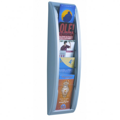 1/3 A4 Wall Mounted Leaflet Dispenser - Silver