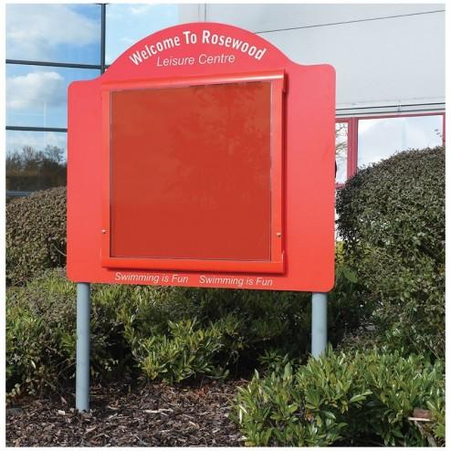 Post mounted weatherproof notice board