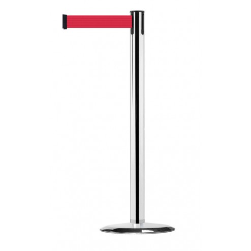 Polished chrome retractable barrier