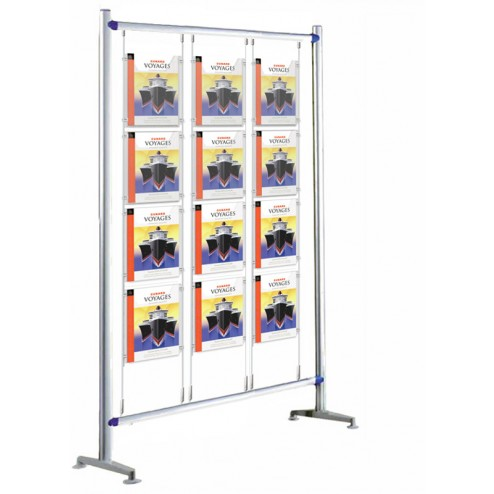 A4 poster display stand with 12 double sided pockets
