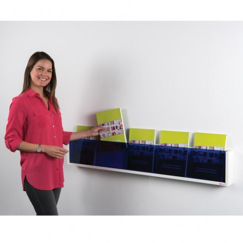 Blue acrylic shelf style literature holder