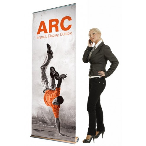 Arc Banner Stand - 850mm Wood Base Roller Banner