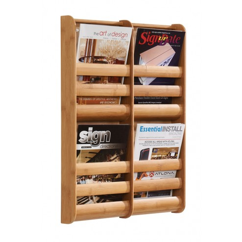 Bamboo Wall Mounted Literature Dispenser - 4xA4