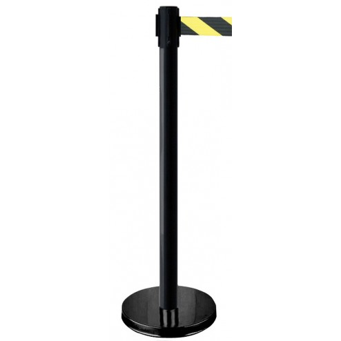 Black post retractable barrier with warning tape