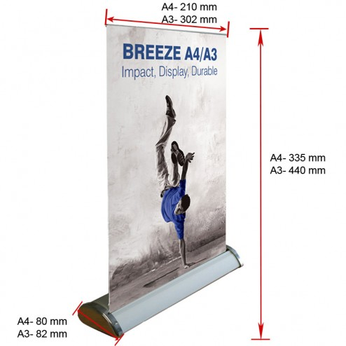 Tabletop banner stand dimensions