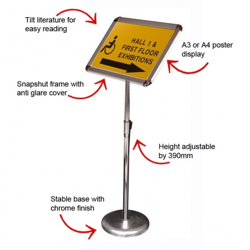 A3 or A4 height adjustable sign holder