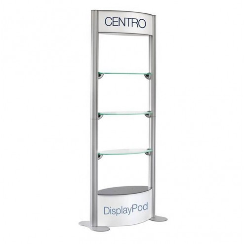 Open shelf unit with printed header and Base (each unit is supplied with 8 clear panels )