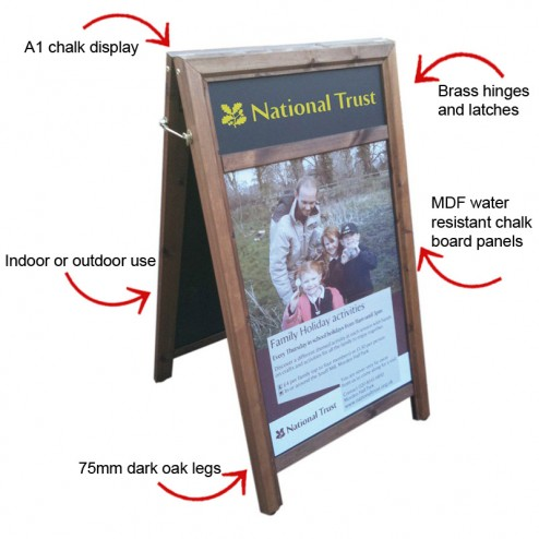 Wooden A1 chalk display features