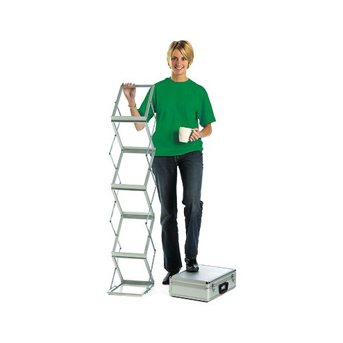 Compact folding literature rack supplied with an aluminium flight case