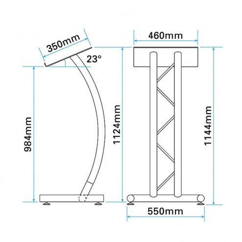Curved Truss Lectern Dimensions