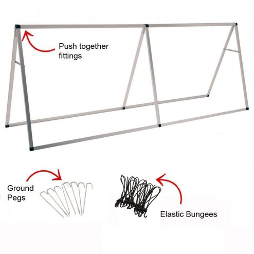 Banner frame with pegs and bungees