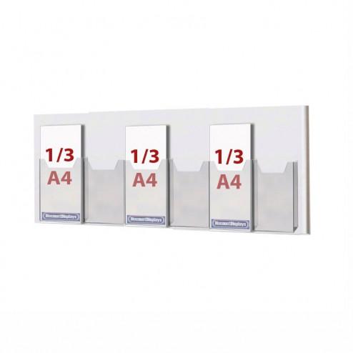 30mm deep pockets to take 1/3 A4 leaflets