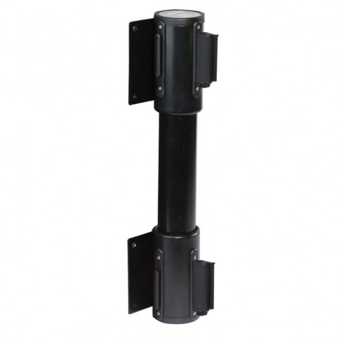 Black wall mounted twin retracting barrier