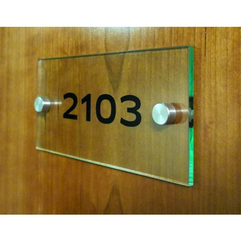 Perspex Door Sign. Cut vinyl number to the rear