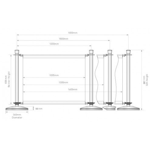 Duo Cafe Barrier Dimensions