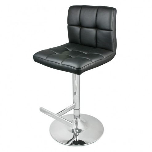 Faux Leather Bar Stool - Black