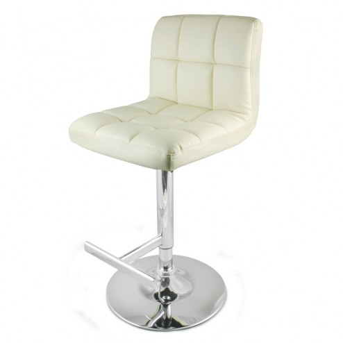Faux Leather Bar Stool - Cream