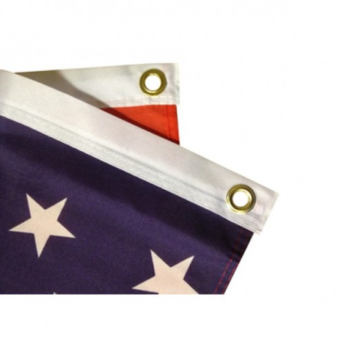 Flag with sewn hems