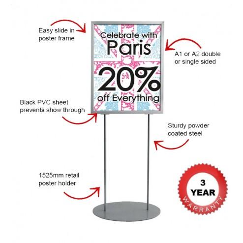 Easy slide changable poster display