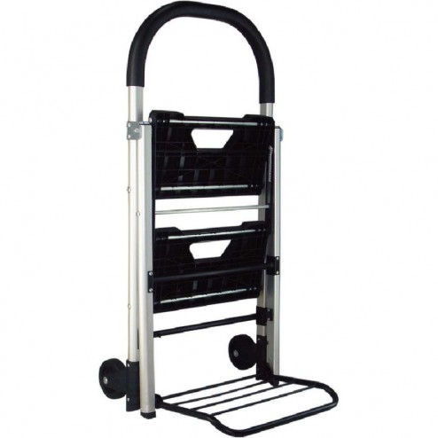 Steps fold up for hand truck