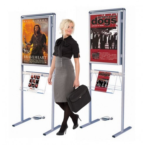Floor standing light box poster display stand