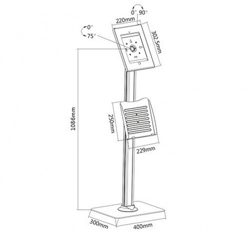 Safe iPad floor stand w/ literature dispenser dimensions