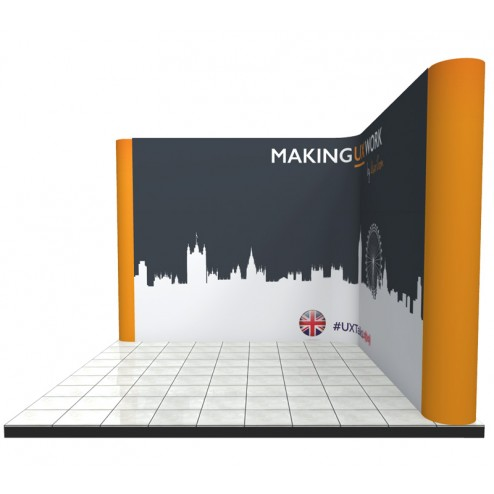 Used on a right hand corner exhibition stand