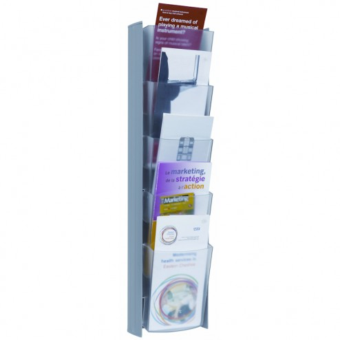 Magazine Rack Wall Mount 1/3 A4 - Light Grey