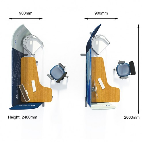 Recommended Configuration 2 of Modulate™ Fabric Office Divider With Measurements