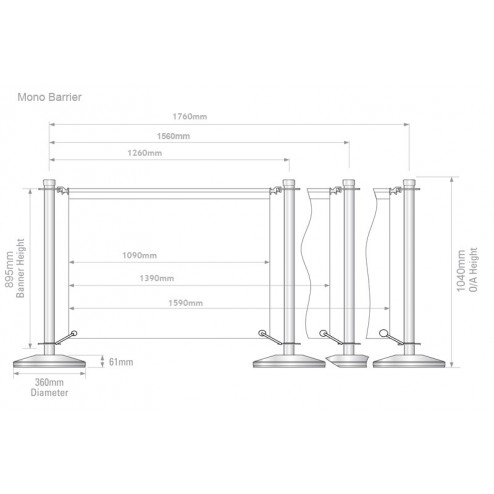 Eco Cafe Barrier Dimensions