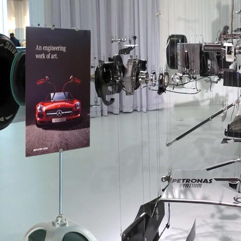 Multisign in car showroom