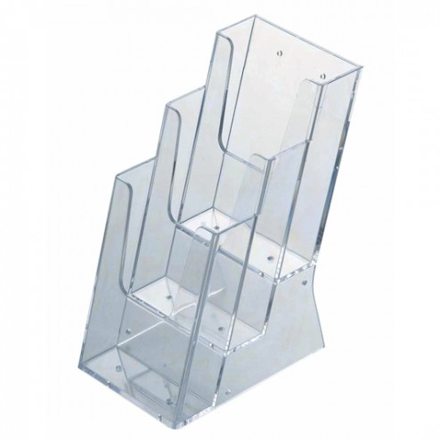 Stacked Perspex Brochure Holders - 3x 1/3 A4