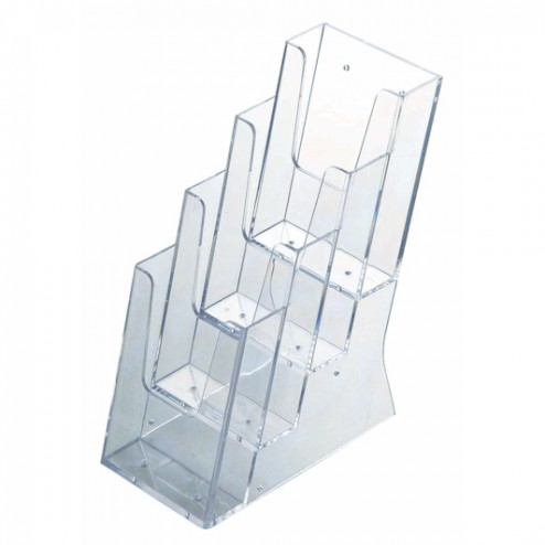 Stacked Perspex Brochure Holders - 4x 1/3 A4