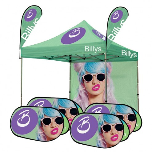 Custom Printed Tent Canopy, Flags & Banner Frame Bundle