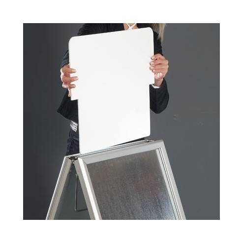 Poster slides easily into the A-Board Frame