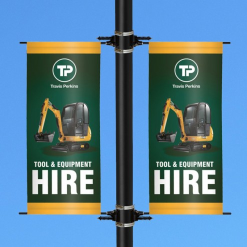 Pair of printed lamp post banners