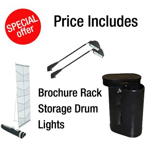 Price includes brochure rack, wheeled drum and lighting kit