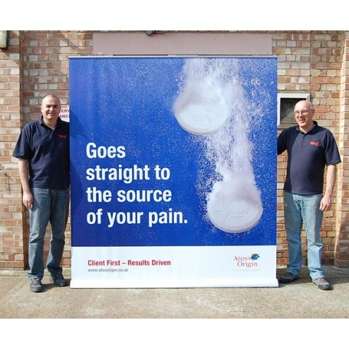 The Mega Jumbo is a popular and versatile banner ideal for exhibition or showroom graphic display. It can be used as a single or double-sided unit